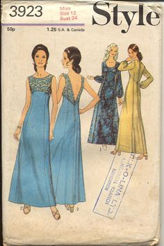 Style 3923 Misses 1970s Evening Dress Pattern by CynicalGirl