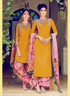 Yellow Cotton & Satin Salwar Kameez ,Indian Dresses - 1
