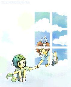 Digimon Adventure 02: Davis, Ken, and their Digimon