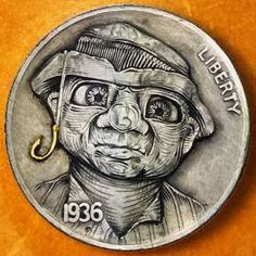 Combining his skill as a master goldsmith and his love for drawing, artist John Schipp has made a creative set of coins under the title Grandma Schipp's Sculpture Art, Sculptures, Hobo Nickel, Coin Art, Family Album, Art Forms, Making Out, Coins, Carving