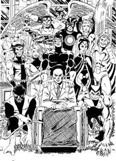 X-men by George Perez Marvel Comics, Marvel Comic Universe, Marvel Art, Marvel Heroes, Comic Book Artists, Comic Artist, Comic Books Art, Black And White Comics, Black And White Artwork