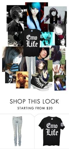 """""""Emo life"""" by xxmusicemoyoutubexx ❤ liked on Polyvore featuring INDIE HAIR, R13, Kain and Converse"""