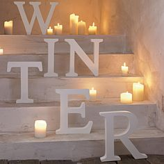 Winter staircase.. candle.. Christmas decorations