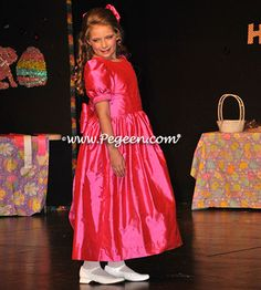 Flower girl dress used for a Natural Pageant - Pegeen Classic Style 318 with added sleeves in Shock Pink