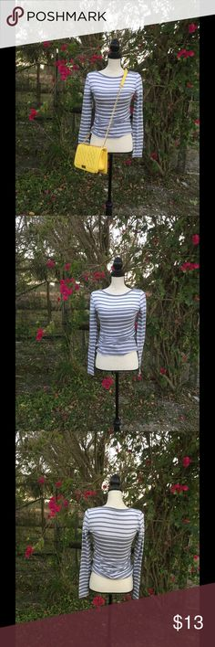 "J. Crew Gray and White Striped Shirt This J. Crew Artist T is the perfect addition to any wardrobe. Who wouldn't love the simple yet beautiful design.  Measurements: Length: 26"" Waist: 28""-30"" Bust: 32""  10% of the proceeds of this item go to HOWMS.ORG, a charity devoted to building homes for orphans, widows, and the elderly in Malawi, Africa. (To read more please check out my ""News Update"" Listing) J.Crew Factory Tops Tees - Long Sleeve"