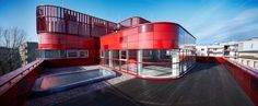 This blood donation center in Raciborz, Poland sports a red interior and exterior.