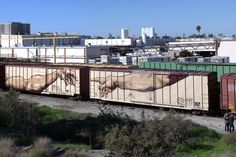 Michelangelo-styled God creating Adam on two EEC boxcars. Steve Berish FB photos in Southern California. Railroad Photography, Train Art, Rail Car, Spray Paint Art, White Dogs, Street Art Graffiti, Model Trains, Scenery, Landscape