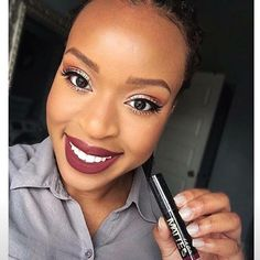 @monica_onyinyechi shows off her pearly whites and the perfect vampy lips wearing our Matte Flat Velvet Lipstick in 'Va Voom!'  ✨ #lagirlcosmetics