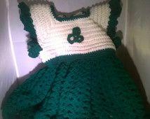 Handmade Crochet Irish Shamrock Baby Girls' Dress - Free Shipping in the U.S.A. - Now on SALE!