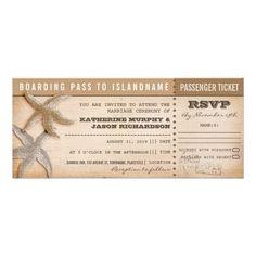 "boarding pass wedding tickets with rsvp personalized announcementscouple of starfish vintage wedding tickets - boarding pass with rsvp in one. I suggest the ""Linen"" or ""Felt"" paper for this design. If you need more additional products (like rsvp, reception, letterheads, wedding stickers etc), please contact me."