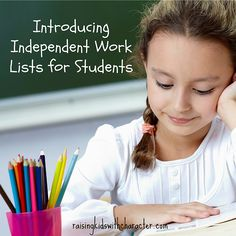 Introducing Independent Work Lists for Students! by Character Ink