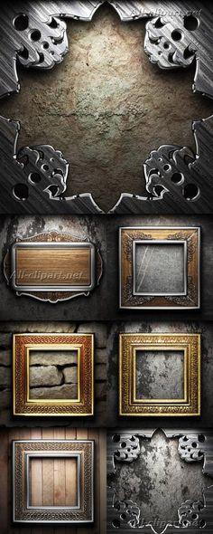 Винтажные рамы на каменной и деревянной стене - фотосток   Vintage Frames