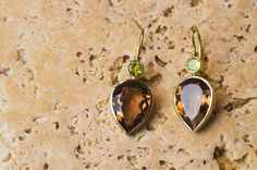 Yellow Gold Earrings set with Cognac Color Topaz and Natural Peridot, Yellow Gold Earrings, Pear Topaz Earrings, Handmade Jewelry Earrings Handmade, Handmade Jewelry, Unique Jewelry, Handmade Gifts, Topaz Earrings, Drop Earrings, Peridot, Earring Set, Pear