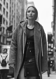Black and white photograph of Jodie Comer 2017 for MONROWE Magazine.