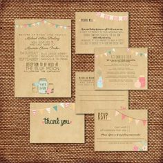 Wedding Invitation Suite Set - Printed, Custom, DIY - RUSTIC, KRAFT Paper, Buntings, Jars, Hearts, Personalized (Wedding Design #13)