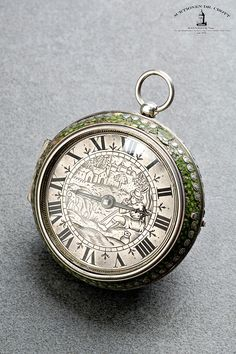 Jeremie Gregory at the Royal Exchange, London, circa 1660 An early single-handed pair-cased verge pocket watch Case: outer case - silver/brass, shagreen, stud decoration. Inner case - silver. Dial: silver, finely engraved scene of a seated shepherd. Movm.: full plate movement, gut/fusee, ratchet wheel set up with blued steel spring, two-arm iron balance without balance spring. Jeremie Gregory (d. 1686) worked in London, Cornhill/Royal Exchange. He was a member of the Clockmakers'