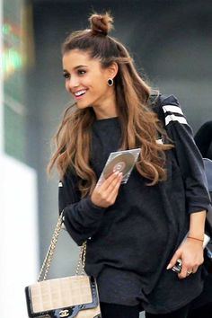 17-Le-Fashion-Blog-19-Ways-To-Wear-A-Half-Up-Top-Knot-Bun-Ariana-Grande-Long-Hair-Airport-Style