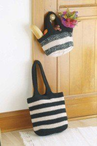 Free Felted Market Bags Knitting Pattern - The felted market bag is easy to knit and spacious enough for a day of shopping. Find a free knitting pattern for the felted market bag at HowStuffWorks. Loom Knitting, Knitting Patterns Free, Free Knitting, Diy Purse Patterns, Bag Pattern Free, Pattern Ideas, Felt Purse, Knitted Bags, Knit Bag