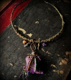 Gypsy choker in purple and green with vintage textiles and beads