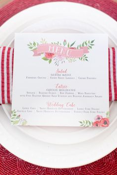 Retro Chic Red and White Place Setting with Chic Stripes | Amy and Jordan…