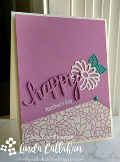 81 best cards die cut words images on pinterest congratulations handmade mothers day card from stampin seasons light plum and white with a pop of green stacked die cut happy almost disappears onto the same color m4hsunfo