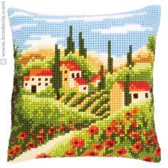 Cuscino Punto Croce Cuscino da ricamare paesaggio toscano Vervaco VE.0144846,