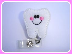 Badge Reel ID Holder Retractable - Tooth Buddy - white felt with pink and black - dentist dental assistant hygienist student DA DDS office on Etsy, $6.25