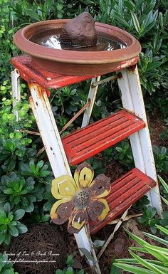 Step Stool Birdbath  (Garden of Len & Barb Rosen)