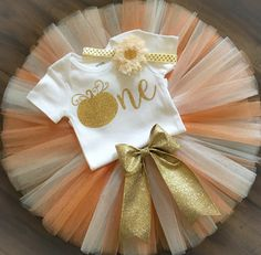 First Birthday Outfit // Pumpkin First by LittlePrincessBottom