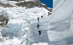 Khumbu Icefall, Mount Everest Climbers descend from Camp One on Mount Everest into the infamous Khumbu Icefall. This statistically is the most dangerous section of the climb, as the huge seracs and crevasses contort and groan throughout the day. Life Is An Adventure, Adventure Is Out There, Bergen, Mount Everest Climbers, Sacred Mountain, The Mountains Are Calling, Swiss Alps, Top Of The World, National Geographic Photos