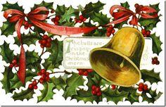 vintage postcard graphics, Christmas postcard, old fashioned Christmas card, holly berries, Christmas bell 12 Days Of Christmas, Christmas Bells, Christmas Countdown, A Christmas Story, Christmas Postcards, Christmas Images, Country Christmas, Christmas Stuff, Merry Christmas