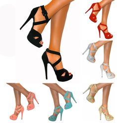 WOMENS ANKLE STRAPPY PEEP TOE STILETTO HIGH HEELS PLATFORM SHOE SANDAL SIZE PROM 30