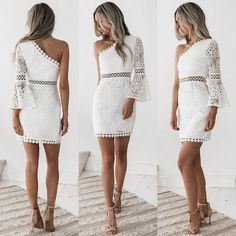 New Lady Women Sexy Lace Inclined Shoulder Long Sleeve Party Slim Beach Dress Cheap Cocktail Dresses, White Cocktail Dress, Short Cocktail Dress, Bodycon Dress With Sleeves, Long Sleeve Mini Dress, Dress First, The Dress, Party Gowns, Party Dress