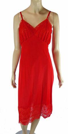 8f1e8a5d18 Van Raalte Valentine Red Full Slip Lace 36 Dress Lingerie Nightgown  Opaquelon