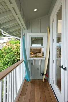 Window with serving bar to porch, great idea! But this porch is not wide enough for chairs...
