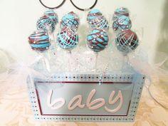 Boy baby shower centerpiece or dessert table cake pops