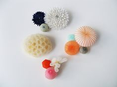 MARIKO KUSUMOTO BROOCHES  Polyester, silver  Various sizes