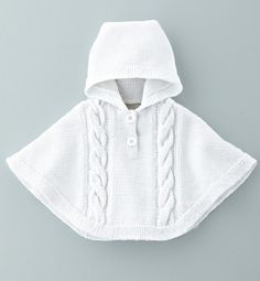 Risultati immagini per poncho tricot Baby Knitting Patterns, Knitting For Kids, Crochet For Kids, Knitting Designs, Baby Patterns, Crochet Baby, Knit Crochet, Free Knitting, Knitted Poncho