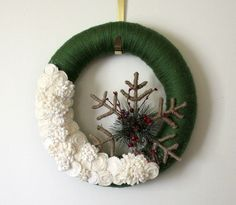 Winter Snowflake Wreath, Forest Green and Off White Yarn and Felt Wreath - 14 inch size, LAST ONE. $47.00, via Etsy.