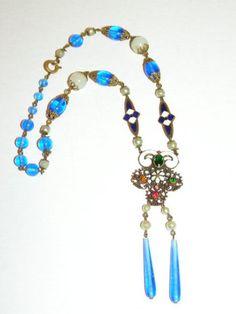 Antique Art Nouveau Czech Blue Art Glass, Enamel & Multicolor Rhinestones Drop Necklace