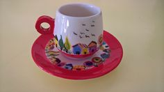Set of Coffe Cups hand painted in ceramic multicolor by InSetArte on Etsy