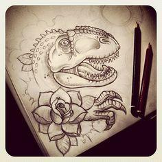 Start on dinosaur leg sleeve design #dinosaur #t-Rex #newschool #neotraditonal…