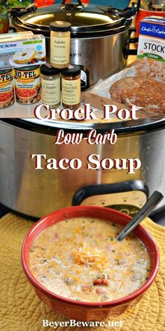 Low Carb taco soup is perfect for people on low-carb or keto diets or who need gluten-free recipes. This crock pot low-carb taco soup recipe is so good it is sure to be loved regardless of if you are on a diet or not. Low Carb Taco Soup, Low Carb Tacos, Keto Taco, Keto Soup, Low Carb Soups, Healthy Taco Soup, Easy Taco Soup, Slow Cooker Recipes, Keto Recipes