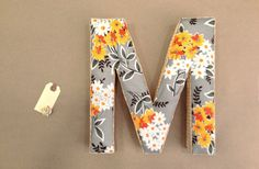 Handmade 11 Yellow Bouquet Fabric Letter  M for by UmbrellaShoppe, $20.00