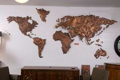 Copper World Map from Sabena Airlines, JFK Airport, New York, 1972 | From a unique collection of antique and modern wall-mounted sculptures at https://www.1stdibs.com/furniture/wall-decorations/wall-mounted-sculptures/