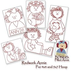 Redwork Raggedy Ann Annie Machine Embroidery Patterns / Designs 4x4 and 5x7 Hoop INSTANT DOWNLOAD
