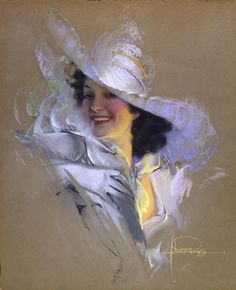 "Rolf Armstrong - ""Jewel In White Chapeau (Jane)"""