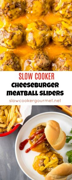 polpette rezept Slow Cooker Cheeseburger Meatball Sliders are the perfect way to get your burger fix without all the work of firing up the grill! So easy and deliciously tasty! Slow Cooked Meals, Crock Pot Slow Cooker, Crock Pot Cooking, Crockpot Meals, Hamburger Crockpot Recipes, Freezer Cooking, Freezer Meals, Healthy Recipes, Beef Recipes