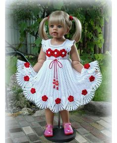 Crochet pink and gray baby dress set with rosebuds comes wi Crochet Dress Girl, Crochet Baby Dress Pattern, Crochet Girls, Crochet Baby Clothes, Baby Knitting Patterns, Crochet For Kids, Baby Patterns, Crochet Patterns, Crochet Dresses
