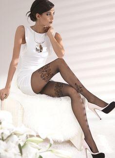 Gatta Sweety 06 - 20den - sexy Strumpfhose mit verführerischem Blumenmuster